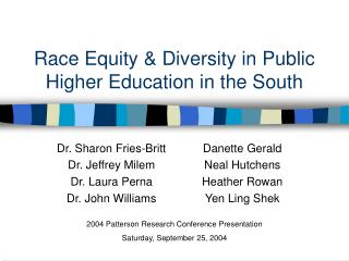 Race Equity & Diversity in Public Higher Education in the South