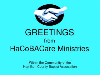 GREETINGS from HaCoBACare Ministries