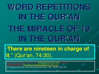 WORD REPETITIONS IN THE QUR'AN THE MIRACLE OF 19 IN THE QUR'AN