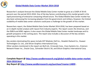 2018 Global Mobile Data Center Market Analysis and Forecast