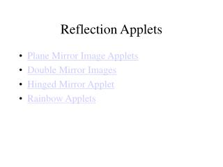 Reflection Applets