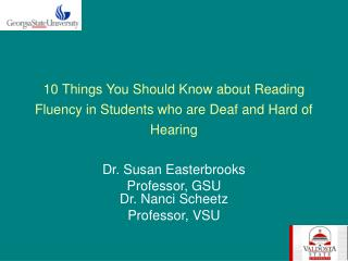 10 Things You Should Know about Reading Fluency in Students who are Deaf and Hard of Hearing