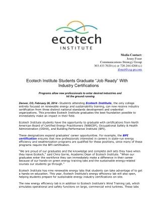 Ecotech Institute Students Graduate