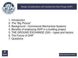 Design Considerations with Geothermal Heat Pumps (GHP)