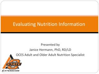 Evaluating Nutrition Information