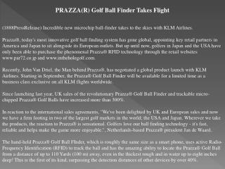 prazza(r) golf ball finder takes flight