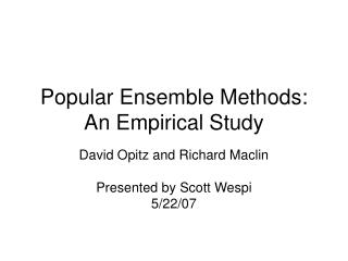Popular Ensemble Methods: An Empirical Study