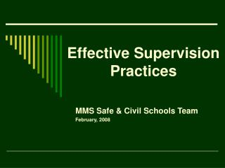 Effective Supervision Practices