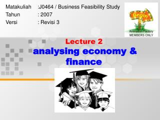 Lecture 2 analysing economy & finance