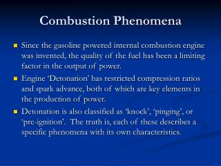 Combustion Phenomena