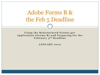 Adobe Forms B & the Feb 5 Deadline