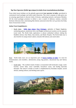 Top Tour Operator (Delhi Agra Jaipur) in India from transind
