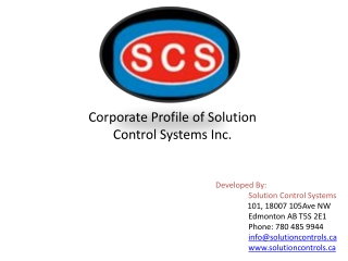 Corporate Profile of Solutions Control Systems