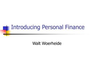 Introducing Personal Finance