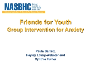 Paula Barrett Friends for Youth a Group Intervention for Anx