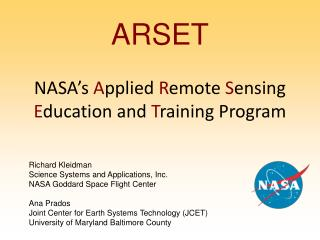 ARSET NASA's  A pplied  R emote  S ensing  E ducation and  T raining Program