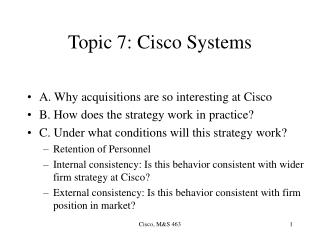 Topic 7: Cisco Systems