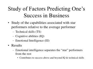 Study of Factors Predicting One's Success in Business