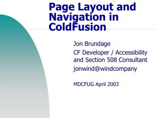 Page Layout and Navigation in ColdFusion