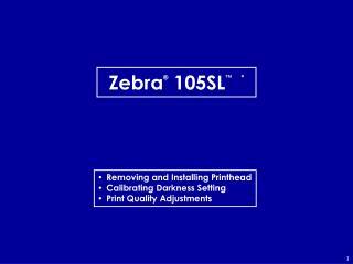 Zebra ® 105SL ™ *