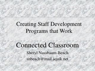 Creating Staff Development Programs that Work