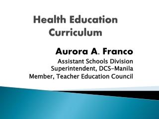 Health Education Curriculum