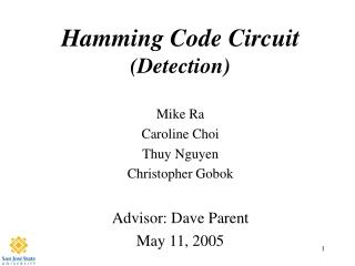 Hamming Code Circuit (Detection)