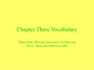 Chapter Three Vocabulary