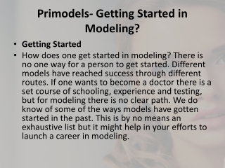 Primodels-Getting Started in Modeling