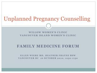 Unplanned Pregnancy Counselling