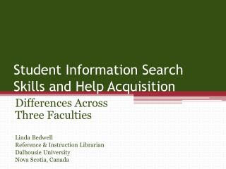 Student Information Search Skills and Help Acquisition