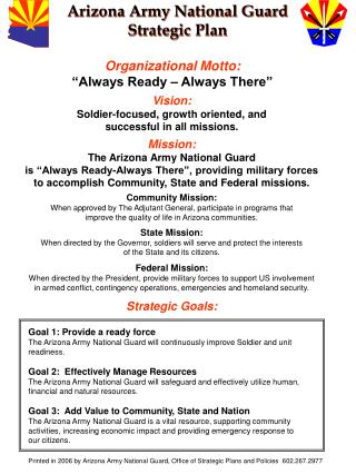 Arizona Army National Guard Strategic Plan