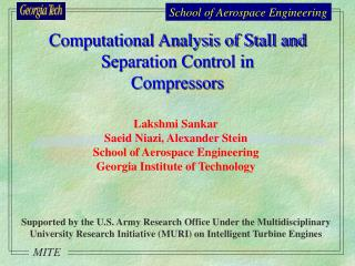 Computational Analysis of Stall and Separation Control in  Compressors