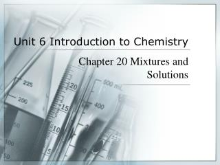 Unit 6 Introduction to Chemistry