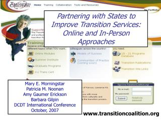 Partnering with States to Improve Transition Services: Online and In-Person Approaches