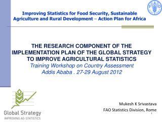 Improving Statistics for Food Security, Sustainable  Agriculture and Rural Development   Action Plan for Africa