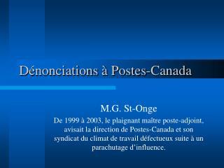 Dénonciations à Postes-Canada