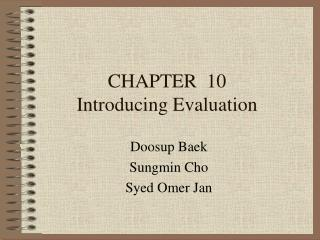 CHAPTER 10 Introducing Evaluation