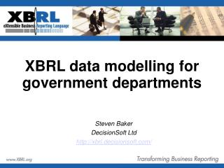 XBRL data modelling for government departments