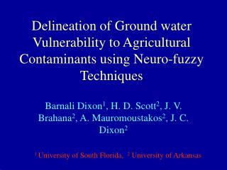 Delineation of Ground water Vulnerability to Agricultural Contaminants using Neuro-fuzzy Techniques