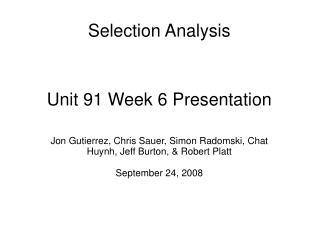 Unit 91 Week 6 Presentation