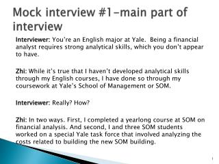 Mock interview 1-main part of interview