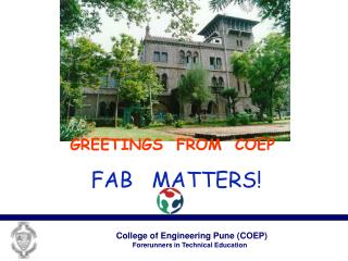 GREETINGS FROM COEP