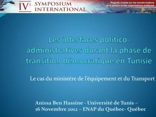 Les interfaces politico-administratives durant la phase de transition démocratique en Tunisie