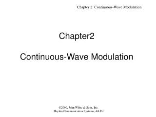 Chapter2  Continuous-Wave Modulation
