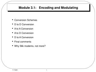 Module 3.1:   Encoding and Modulating