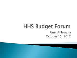 HHS Budget Forum
