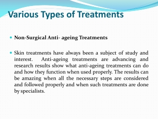 Various Types of Treatments