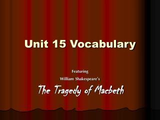 Unit 15 Vocabulary