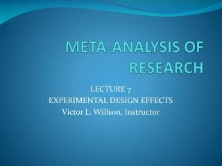 META-ANALYSIS OF RESEARCH